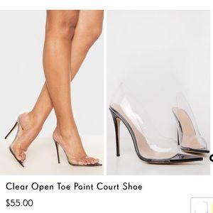 Clear Open Toe Point Court Shoe